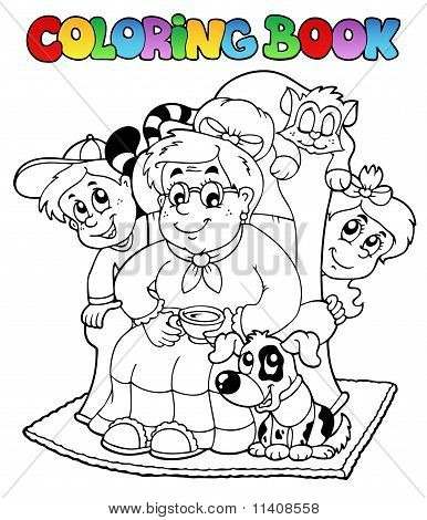 Coloring Book With Grandma And Kids