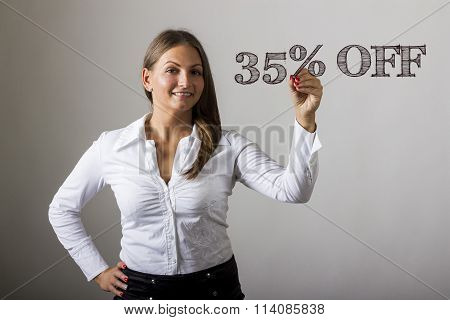35 Percent Off - Beautiful Girl Writing On Transparent Surface