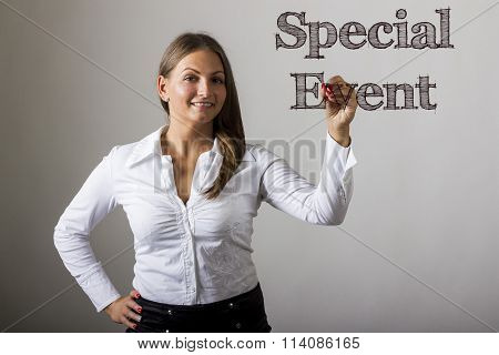 Special Event - Beautiful Girl Writing On Transparent Surface