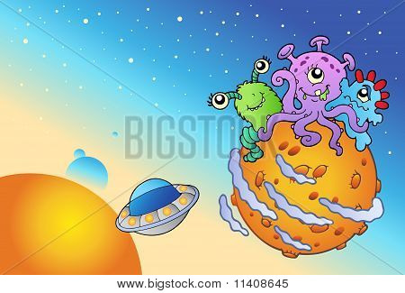 Spacescape With Three Cute Aliens