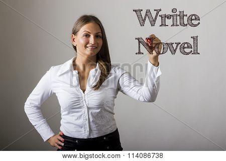 Write Novel - Beautiful Girl Writing On Transparent Surface