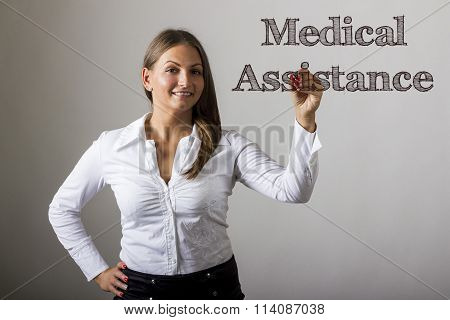 Medical Assistance - Beautiful Girl Writing On Transparent Surface