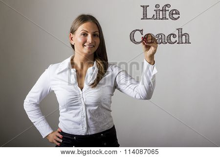 Life Coach - Beautiful Girl Writing On Transparent Surface