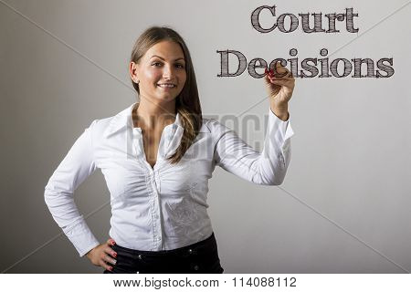 Court Decisions - Beautiful Girl Writing On Transparent Surface