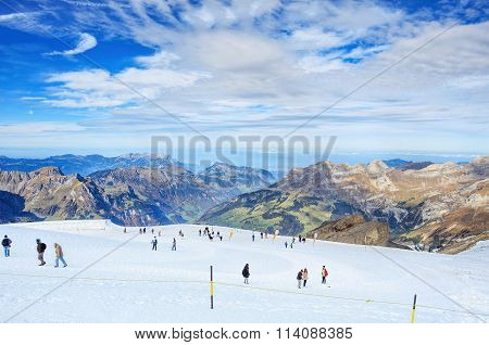 View On The Top Of Mt. Titlis In Switzerland
