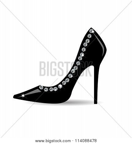 Fashion  black shoe with strass