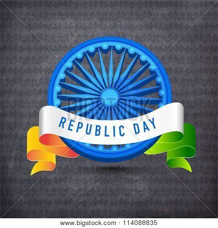 Creative Ashoka Wheel with glossy tricolour ribbon for Indian Republic Day celebration.