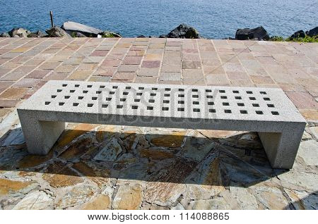 Concrete Bench By The Sea