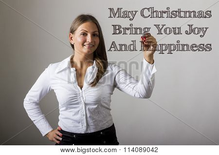 May Christmas Bring You Joy And Happiness - Beautiful Girl Writing On Transparent Surface