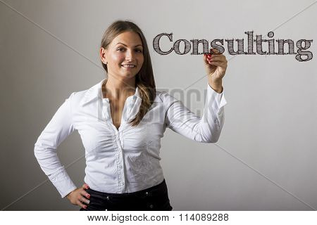 Consulting - Beautiful Girl Writing On Transparent Surface