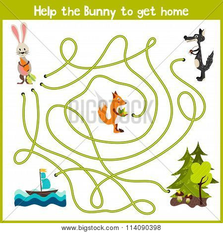 Cartoon Of Education Will Continue The Logical Way Home Of Colourful Animals. Bring The Bunny Home I