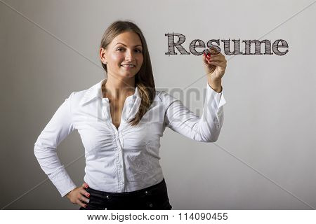 Resume - Beautiful Girl Writing On Transparent Surface