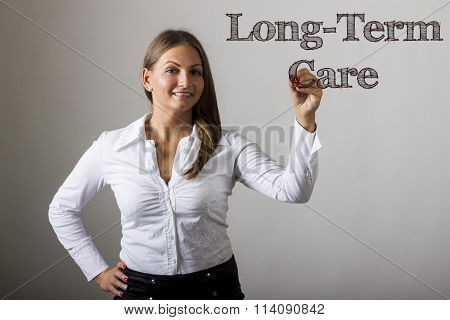 Long-term Care - Beautiful Girl Writing On Transparent Surface