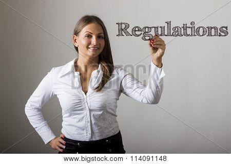Regulations - Beautiful Girl Writing On Transparent Surface