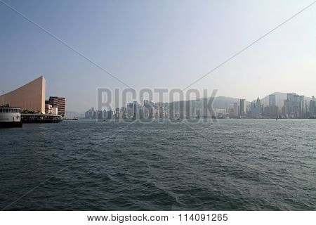 Hong Kong island Kowloon peninsula and Victoria harbor in Hong Kong