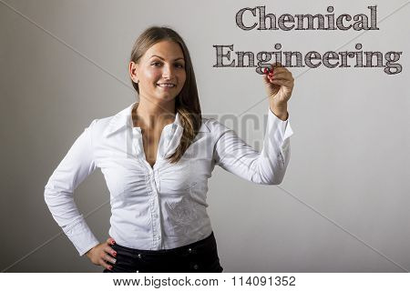 Chemical Engineering - Beautiful Girl Writing On Transparent Surface