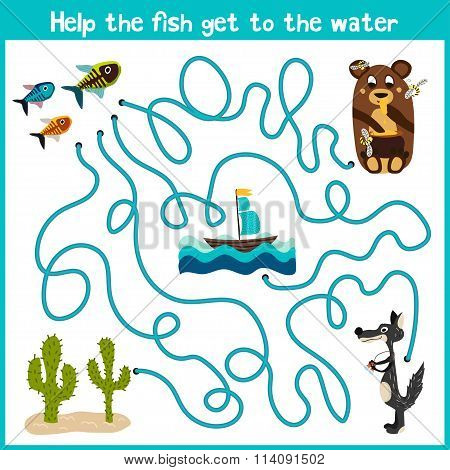 Cartoon Of Education Will Continue The Logical Way Home Of Colourful Animals. Help The Little Fish T