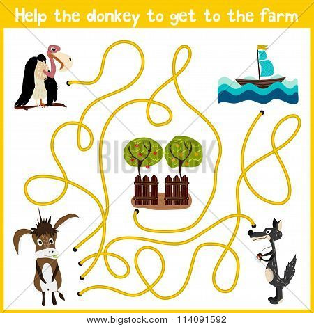 Cartoon Of Education Will Continue The Logical Way Home Of Colourful Animals. Help The Donkey To Get