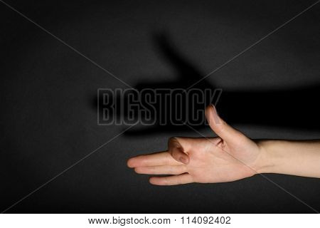 Female hand forming dog face shadow on dark background