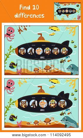 Cartoon Of Education To Find 10 Differences In Children's Pictures Submarine Floats With Animals