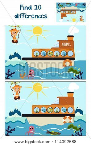 Cartoon Of Education To Find 10 Differences In Children's Pictures, The Boat Floats With Forest