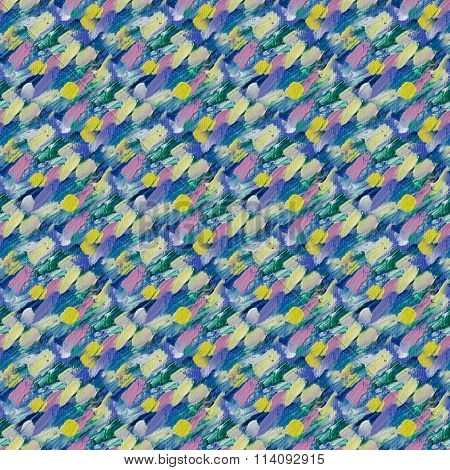 Small Pattern With Short Hand Drawn Strokes. Seamless Texture In Impressionism Style.