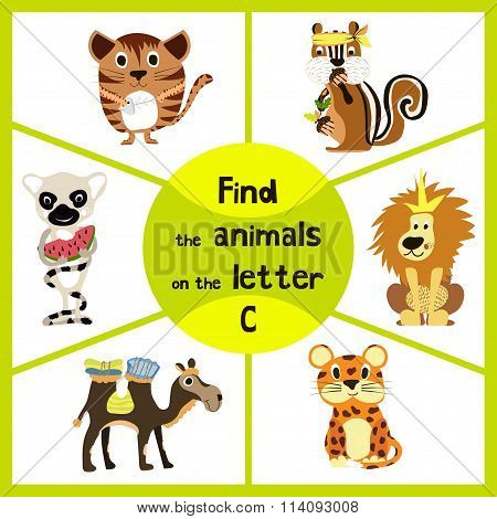 Funny Learning Maze Game, Find All 3 Cute Wild Animals With The Letter C, Friendly Kitten, African C