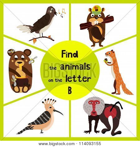 Funny Learning Maze Game, Find All Of Cute Wild Animals 3 The P-word, Monkey, Baboon, Bear And Beave