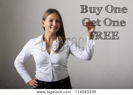 Buy One Get One Free - Beautiful Girl Writing On Transparent Surface
