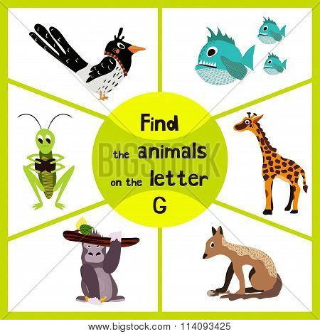 Funny Learning Maze Game, Find All 3 Cute Wild Animals With The Letter G, Tropical Gorilla, Giraffe