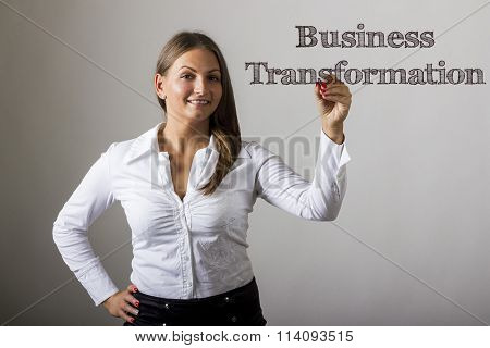 Business Transformation - Beautiful Girl Writing On Transparent Surface