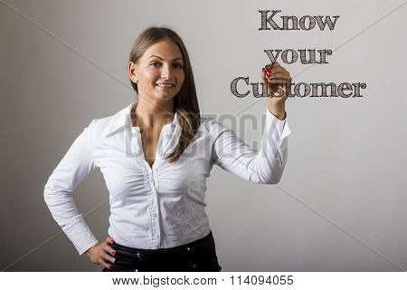 Know Your Customer - Beautiful Girl Writing On Transparent Surface