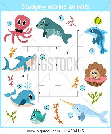 A Colorful Children's Cartoon Crossword, Education Game For Children On The Theme Of Sea Animals