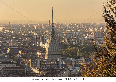 Turin and the Mole Antonelliana seen from above, Italy