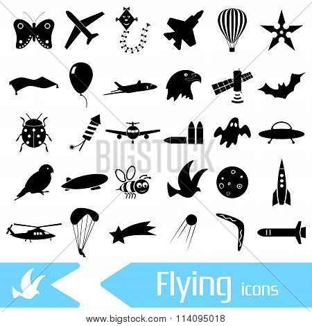 Flying Theme Theme Symbols And Icons Set Eps10