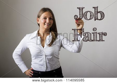 Job Fair - Beautiful Girl Writing On Transparent Surface