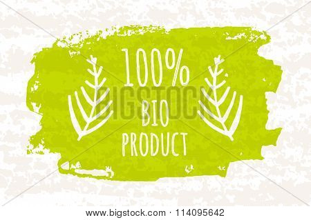Creative Poster Colorful Green 100 Bio Products For A Healthy Diet And Adherence To Diet Isolated On
