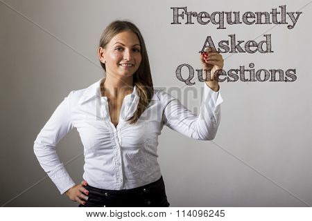Frequently Asked Questions - Beautiful Girl Writing On Transparent Surface