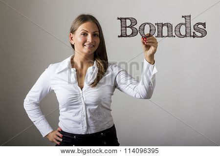 Bonds - Beautiful Girl Writing On Transparent Surface