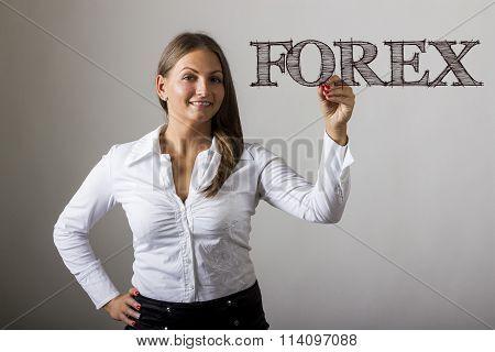 Forex - Beautiful Girl Writing On Transparent Surface