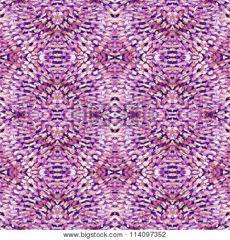 Small Pattern With Short Hand Drawn Strokes With Kaleidoscopic Effect. Seamless Texture In Impressio