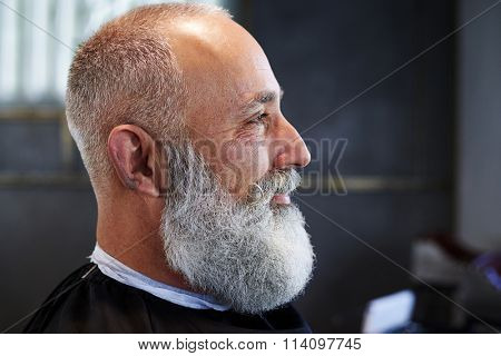 sideview portrait of smiley bearded senior man in barber shop