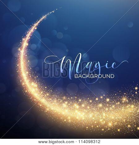 Starry Glitter Trail Background. Vector illustration
