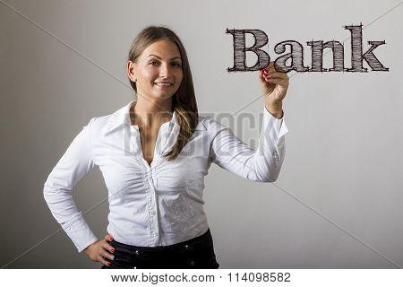 Bank - Beautiful Girl Writing On Transparent Surface