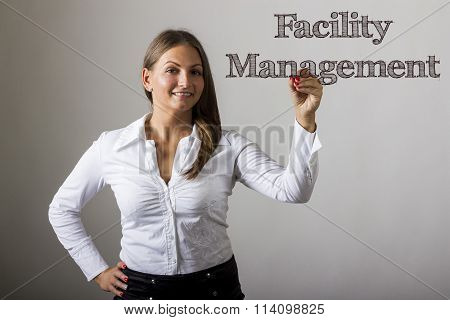 Facility Management - Beautiful Girl Writing On Transparent Surface