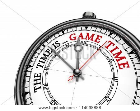Game Time Red Message On Concept Clock