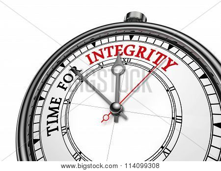 Integrity Time Red Message On Concept Clock