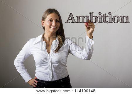 Ambition - Beautiful Girl Writing On Transparent Surface