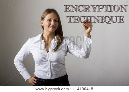Encryption Technique - Beautiful Girl Writing On Transparent Surface
