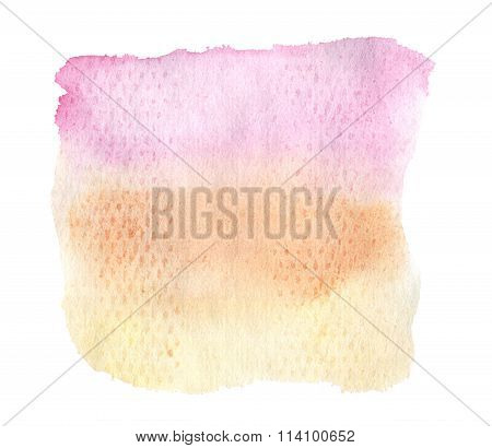 Watercolor Hand Drawn Isolated Yellow, Pink And Orange Spot. Raster Illustration